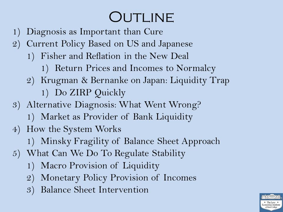 Outline 1)Diagnosis as Important than Cure 2)Current Policy Based on US and Japanese 1)Fisher and Reflation in the New Deal 1)Return Prices and Incomes to Normalcy 2)Krugman & Bernanke on Japan: Liquidity Trap 1)Do ZIRP Quickly 3)Alternative Diagnosis: What Went Wrong.