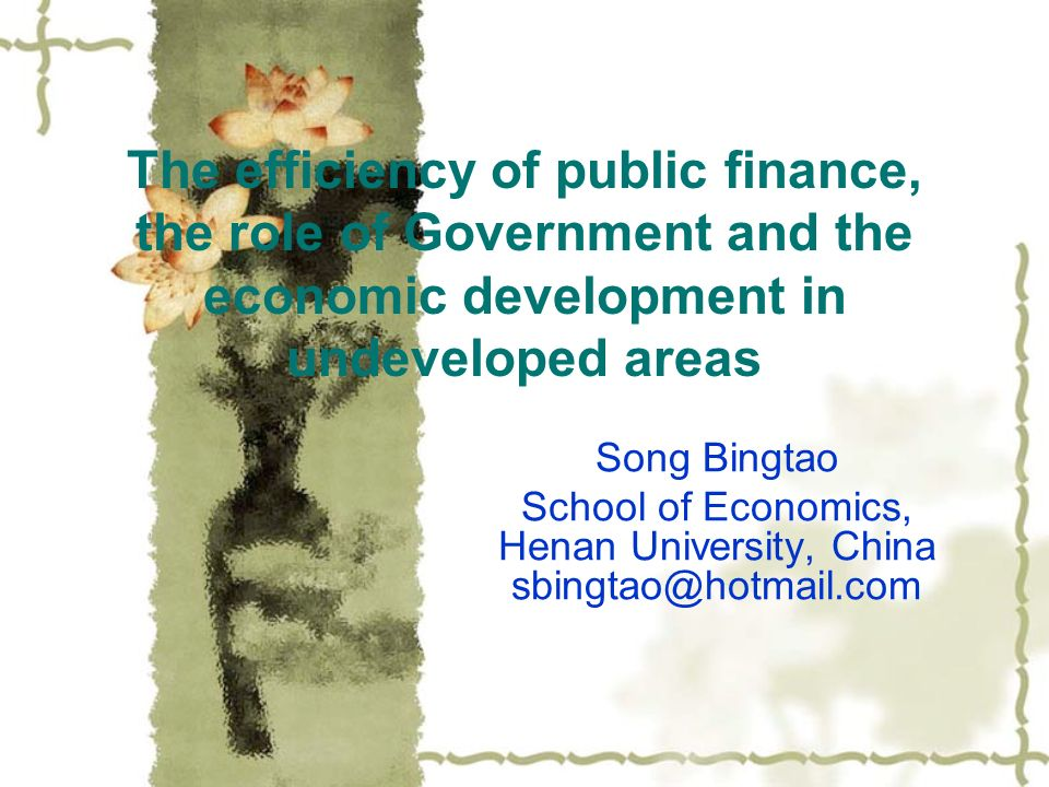 The efficiency of public finance, the role of Government and the economic development in undeveloped areas Song Bingtao School of Economics, Henan Uni