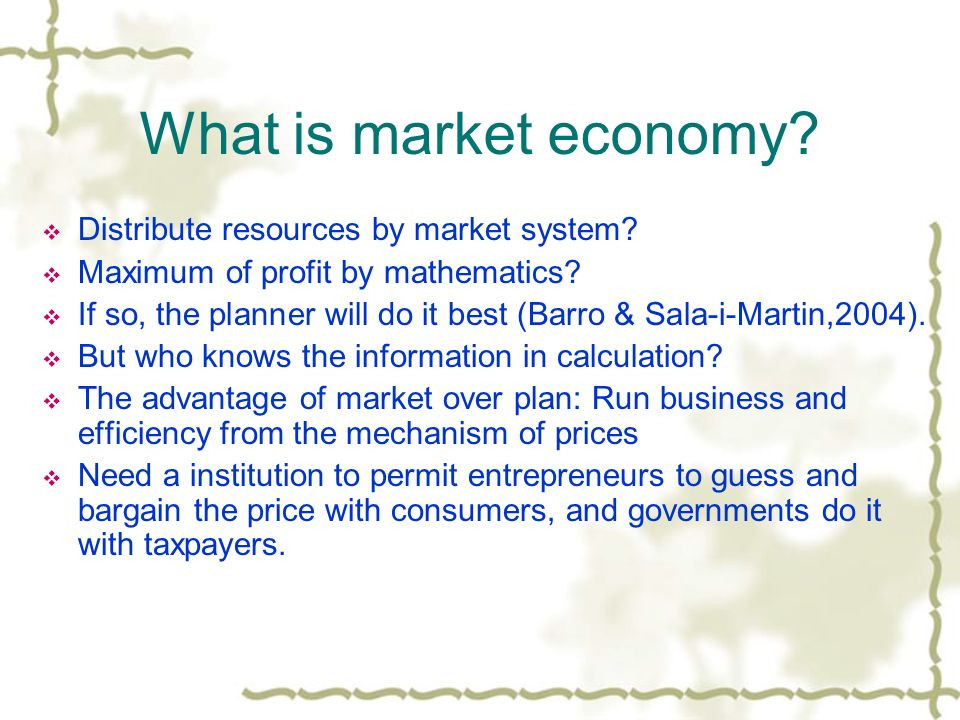 What is market economy? Distribute resources by market system? Maximum of profit by mathematics? If so, the planner will do it best (Barro & Sala-i-Ma