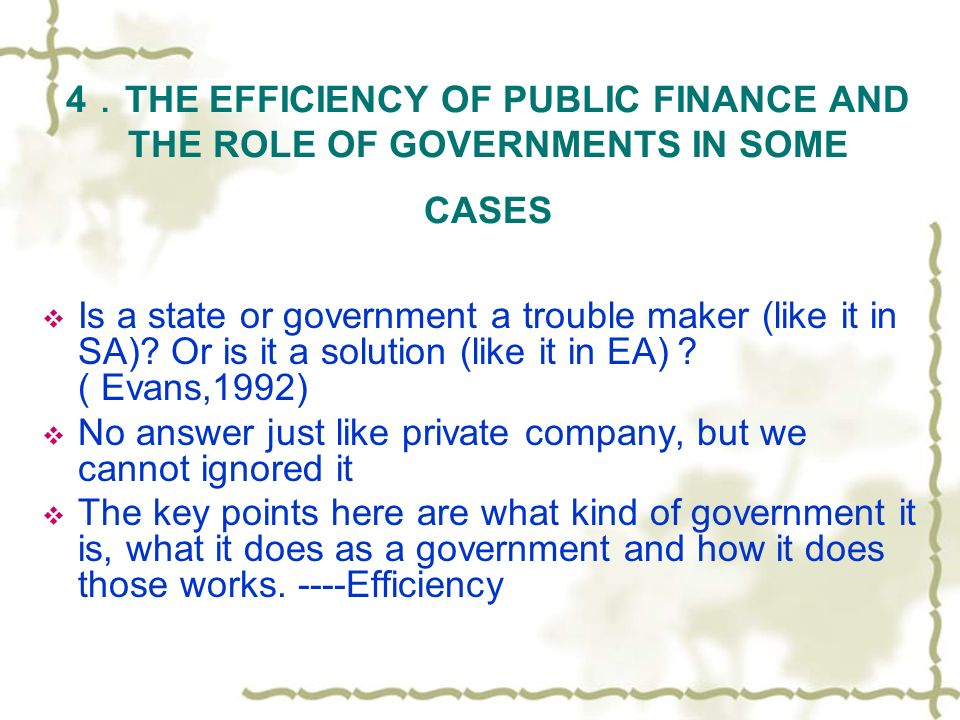 4 THE EFFICIENCY OF PUBLIC FINANCE AND THE ROLE OF GOVERNMENTS IN SOME CASES Is a state or government a trouble maker (like it in SA)? Or is it a solu