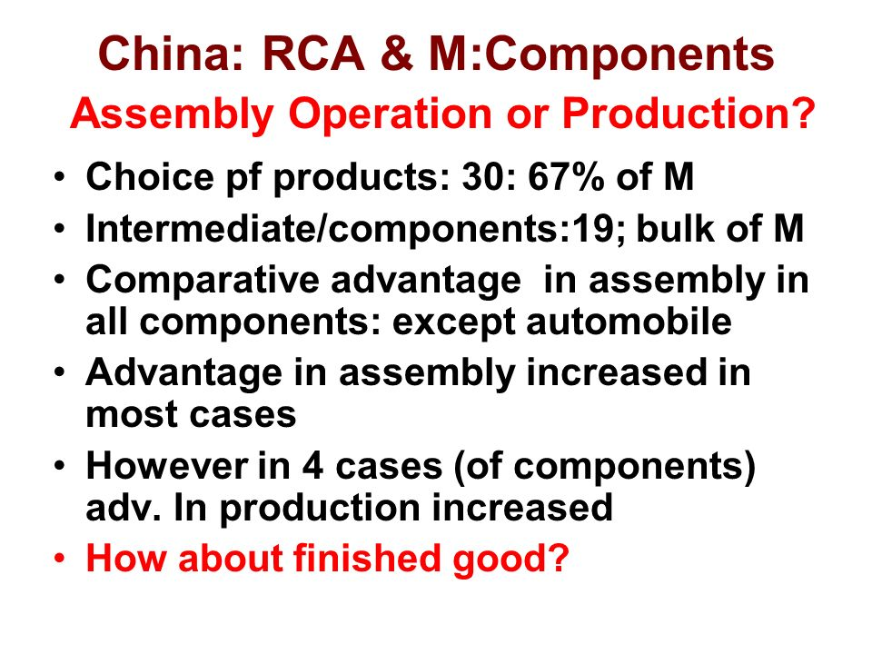 China: RCA & M:Components Assembly Operation or Production.