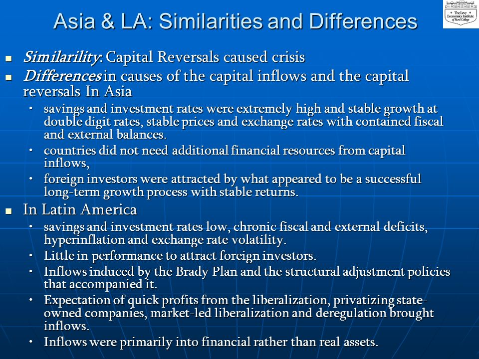 Asia & LA: Similarities and Differences Similarility: Capital Reversals caused crisis Similarility: Capital Reversals caused crisis Differences in causes of the capital inflows and the capital reversals In Asia Differences in causes of the capital inflows and the capital reversals In Asia savings and investment rates were extremely high and stable growth at double digit rates, stable prices and exchange rates with contained fiscal and external balances.savings and investment rates were extremely high and stable growth at double digit rates, stable prices and exchange rates with contained fiscal and external balances.