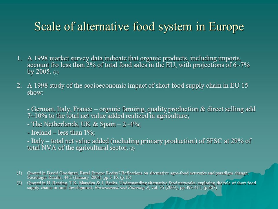 Scale of alternative food system in Europe 1.