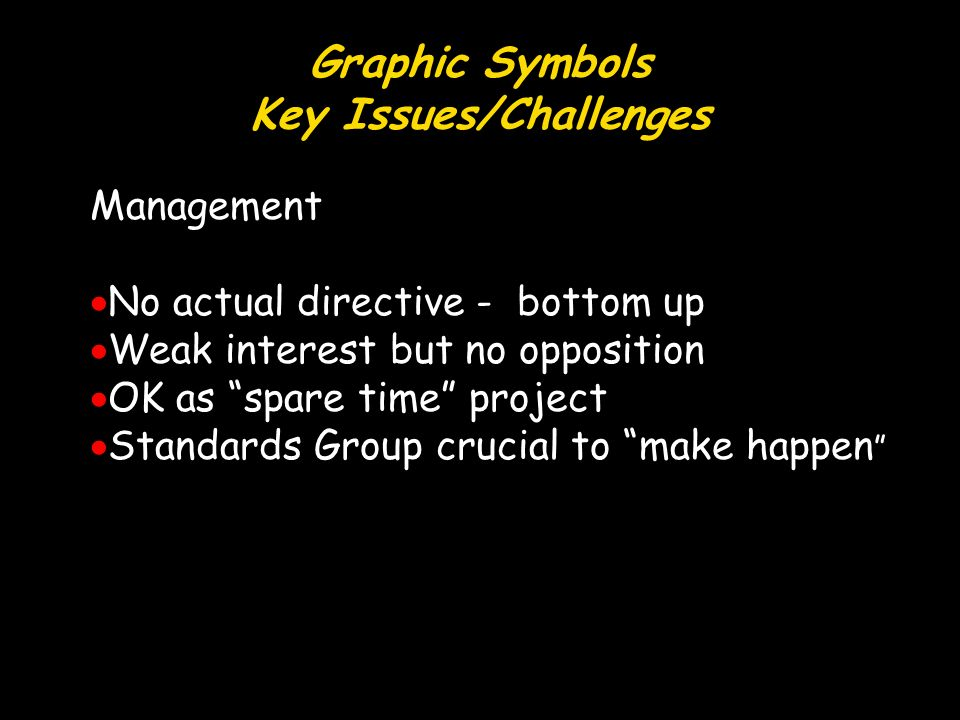Graphic Symbols Key Issues/Challenges Management No actual directive - bottom up Weak interest but no opposition OK as spare time project Standards Group crucial to make happen