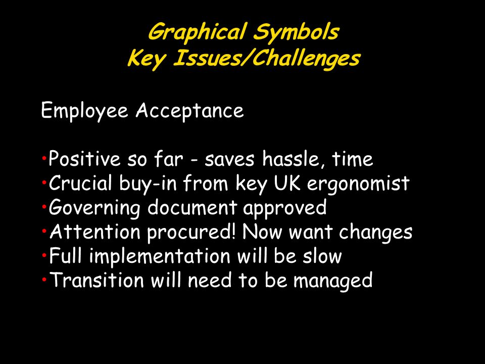 Graphical Symbols Key Issues/Challenges Employee Acceptance Positive so far - saves hassle, time Crucial buy-in from key UK ergonomist Governing document approved Attention procured.