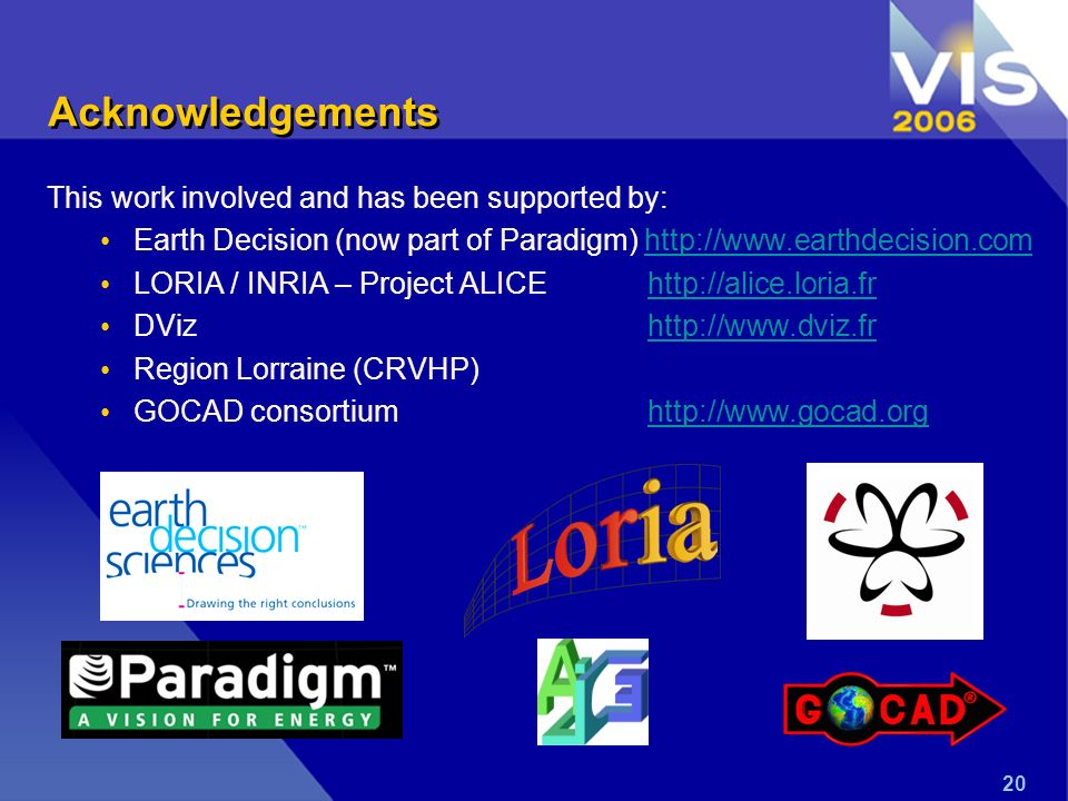 20 Acknowledgements This work involved and has been supported by: Earth Decision (now part of Paradigm) http://www.earthdecision.comhttp://www.earthde