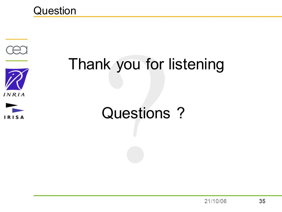 3521/10/06 Question Thank you for listening Questions