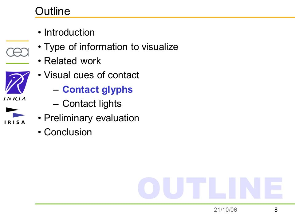 821/10/06 Outline Introduction Type of information to visualize Related work Visual cues of contact –Contact glyphs –Contact lights Preliminary evaluation Conclusion OUTLINE