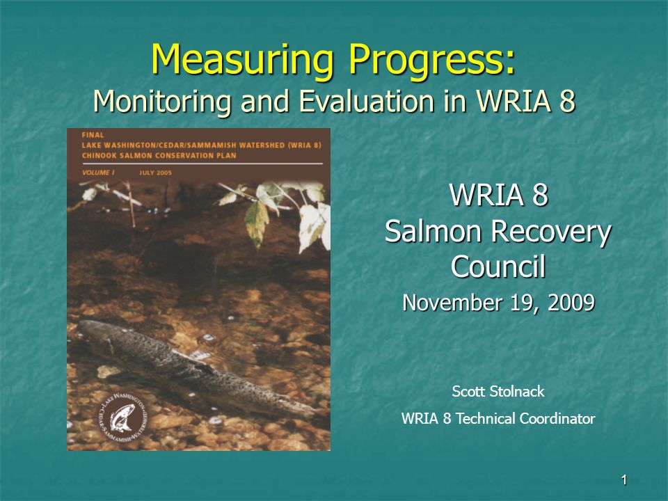 1 Measuring Progress: Monitoring and Evaluation in WRIA 8 WRIA 8 Salmon Recovery Council November 19, 2009 Scott Stolnack WRIA 8 Technical Coordinator