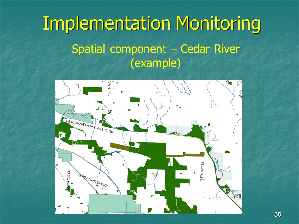 35 Implementation Monitoring Spatial component – Cedar River (example)