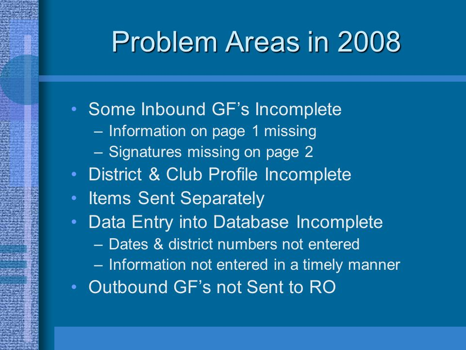 Problem Areas in 2008 Some Inbound GFs Incomplete –Information on page 1 missing –Signatures missing on page 2 District & Club Profile Incomplete Items Sent Separately Data Entry into Database Incomplete –Dates & district numbers not entered –Information not entered in a timely manner Outbound GFs not Sent to RO