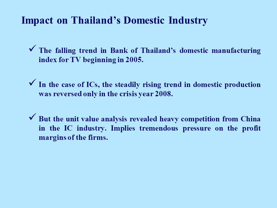Impact on Thailands Domestic Industry The falling trend in Bank of Thailands domestic manufacturing index for TV beginning in 2005.