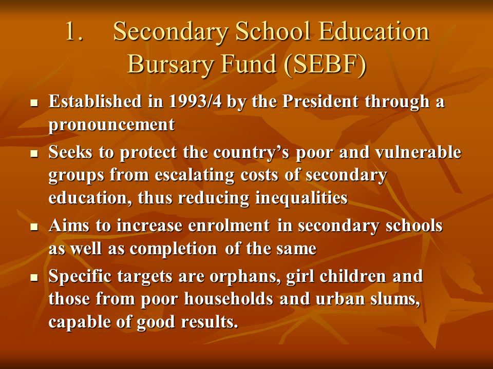 1.Secondary School Education Bursary Fund (SEBF) Established in 1993/4 by the President through a pronouncement Established in 1993/4 by the President through a pronouncement Seeks to protect the countrys poor and vulnerable groups from escalating costs of secondary education, thus reducing inequalities Seeks to protect the countrys poor and vulnerable groups from escalating costs of secondary education, thus reducing inequalities Aims to increase enrolment in secondary schools as well as completion of the same Aims to increase enrolment in secondary schools as well as completion of the same Specific targets are orphans, girl children and those from poor households and urban slums, capable of good results.