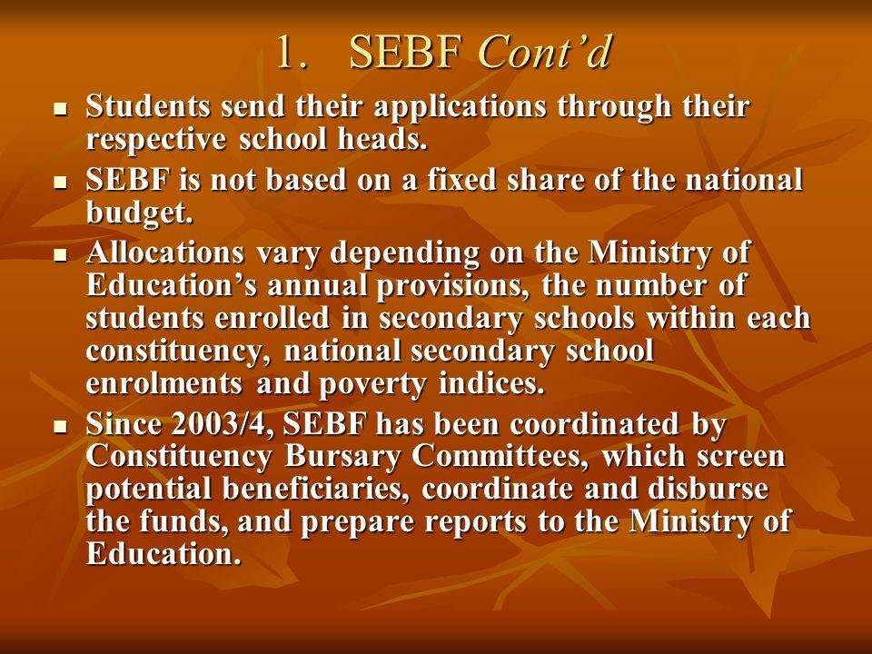 1.SEBF Contd 1.SEBF Contd Students send their applications through their respective school heads.