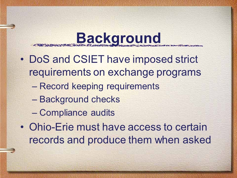 Established Procedure Keep minimum records at Ohio-Erie level Keep most records at District level Keep duplicate records at Club level Maintain a record keeping standard for Ohio-Erie for the Districts and Clubs to follow