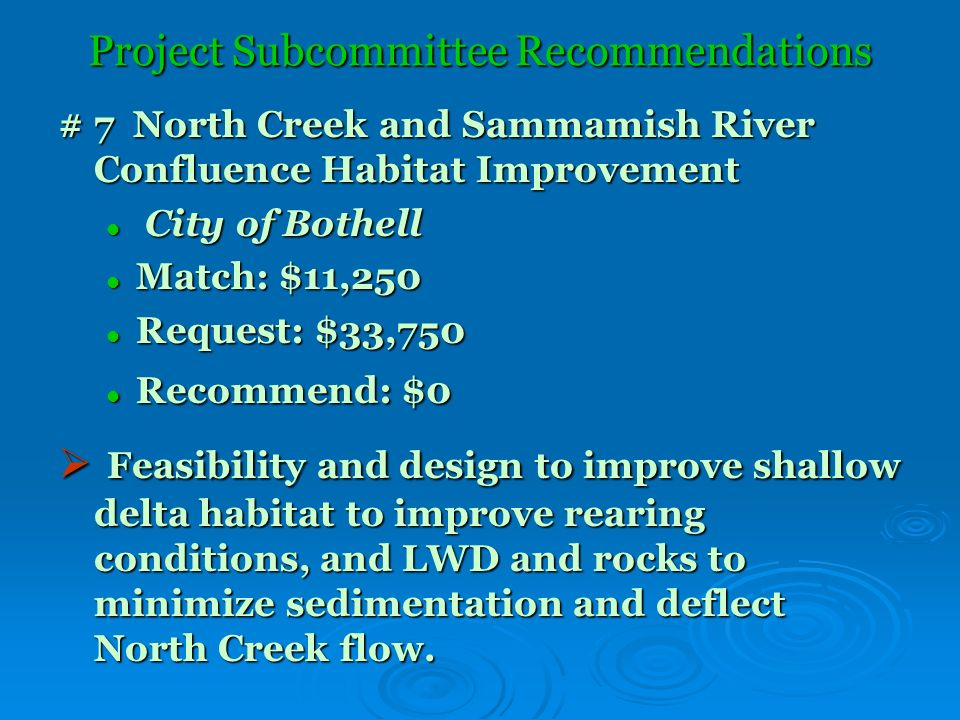 Project Subcommittee Recommendations # 7 North Creek and Sammamish River Confluence Habitat Improvement City of Bothell City of Bothell Match: $11,250 Match: $11,250 Request: $33,750 Request: $33,750 Recommend: $0 Recommend: $0 Feasibility and design to improve shallow delta habitat to improve rearing conditions, and LWD and rocks to minimize sedimentation and deflect North Creek flow.