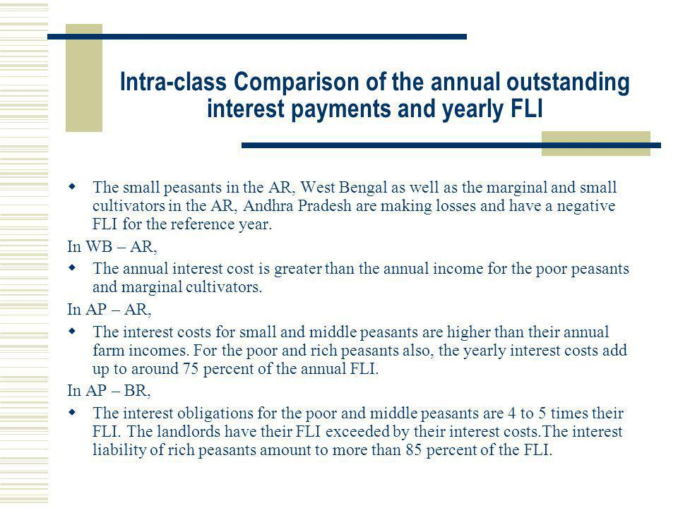 Intra-class Comparison of the annual outstanding interest payments and yearly FLI The small peasants in the AR, West Bengal as well as the marginal an