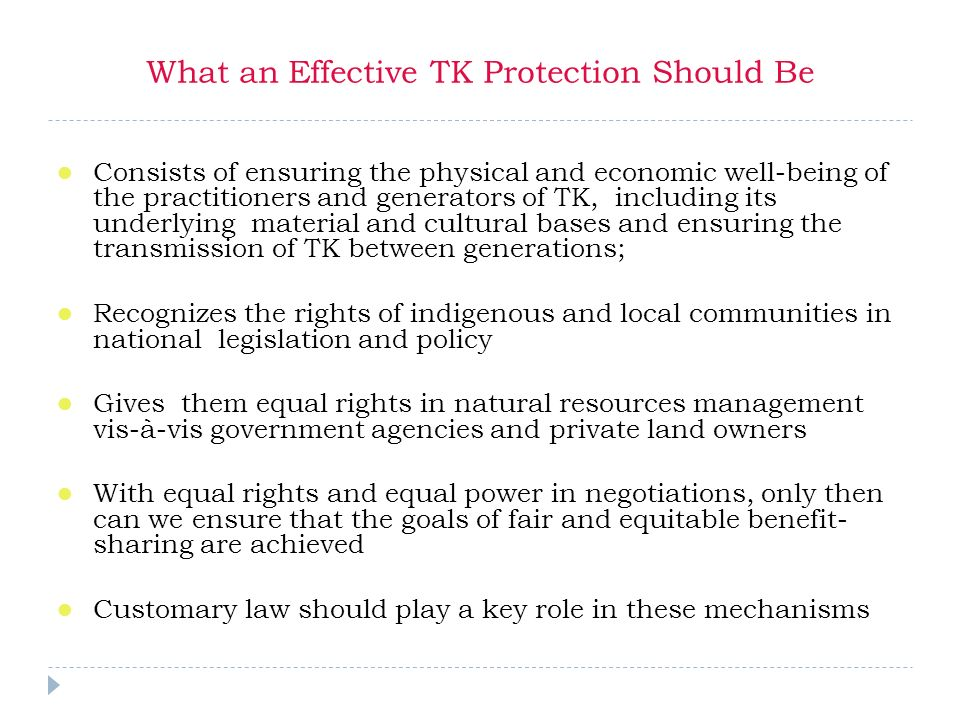 What an Effective TK Protection Should Be Consists of ensuring the physical and economic well-being of the practitioners and generators of TK, including its underlying material and cultural bases and ensuring the transmission of TK between generations; Recognizes the rights of indigenous and local communities in national legislation and policy Gives them equal rights in natural resources management vis-à-vis government agencies and private land owners With equal rights and equal power in negotiations, only then can we ensure that the goals of fair and equitable benefit- sharing are achieved Customary law should play a key role in these mechanisms