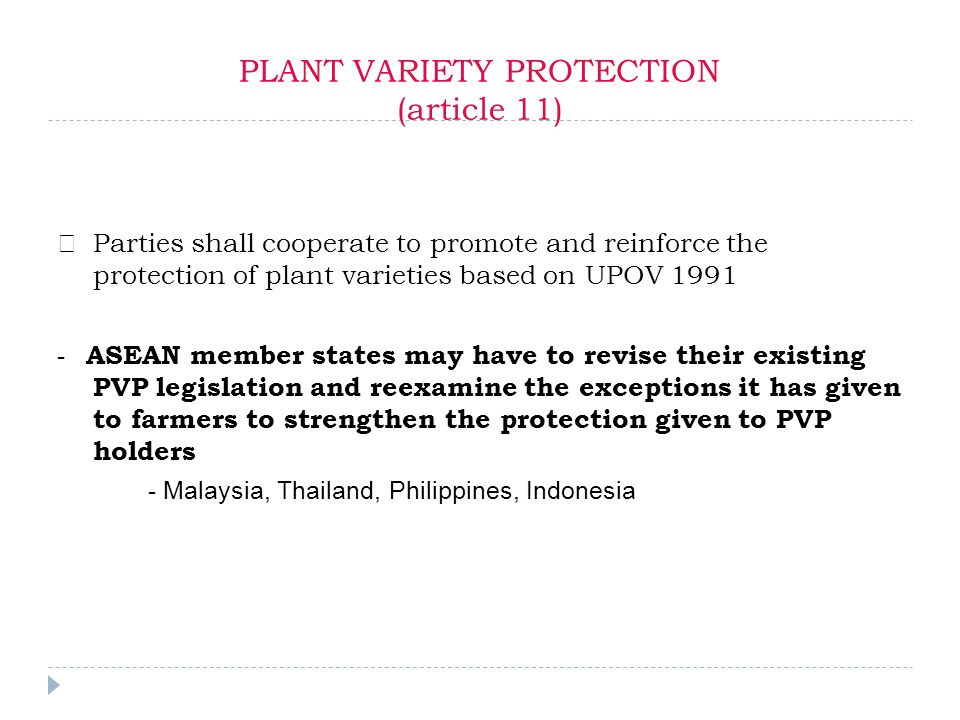 PLANT VARIETY PROTECTION (article 11) Parties shall cooperate to promote and reinforce the protection of plant varieties based on UPOV 1991 - ASEAN member states may have to revise their existing PVP legislation and reexamine the exceptions it has given to farmers to strengthen the protection given to PVP holders - Malaysia, Thailand, Philippines, Indonesia