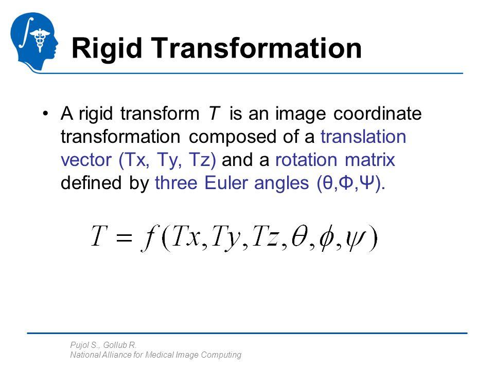 Pujol S., Gollub R. National Alliance for Medical Image Computing Rigid Transformation A rigid transform T is an image coordinate transformation compo