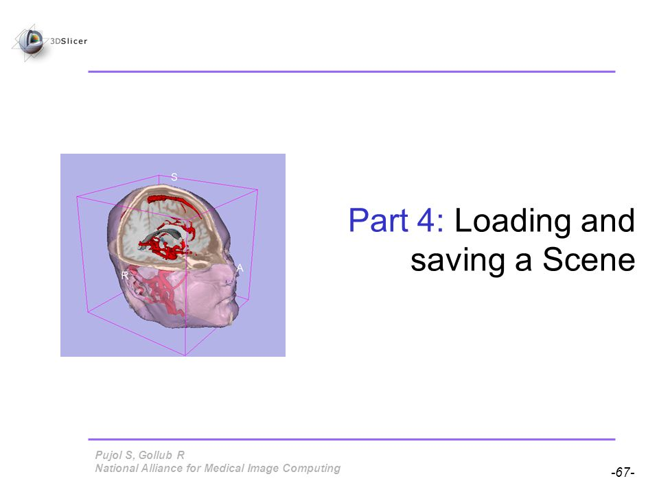 Pujol S, Gollub R -67- National Alliance for Medical Image Computing Part 4: Loading and saving a Scene