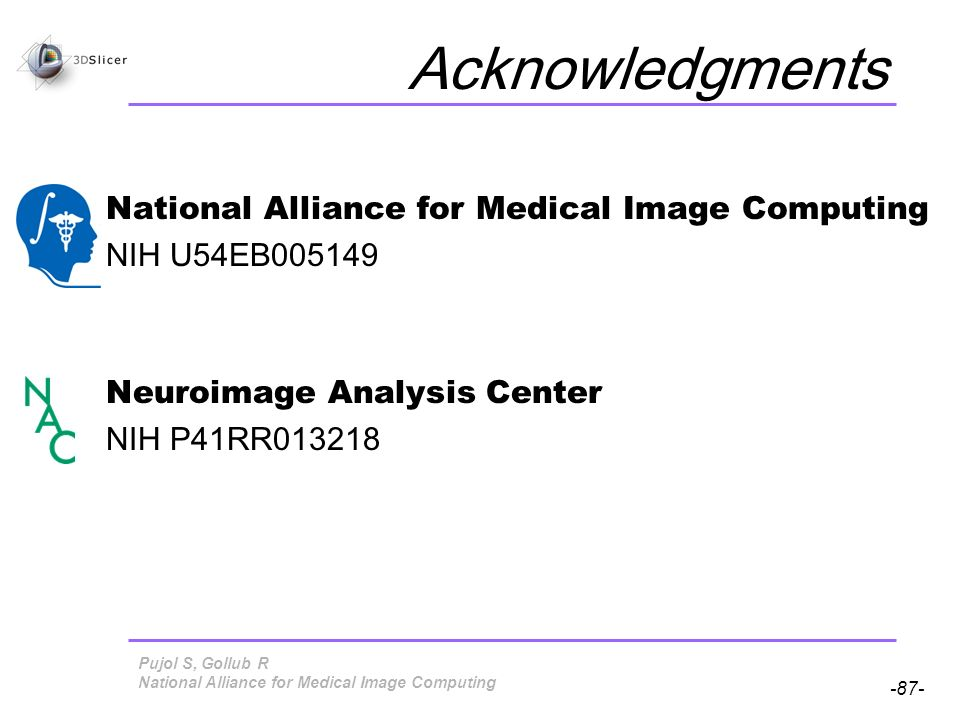Pujol S, Gollub R -87- National Alliance for Medical Image Computing Acknowledgments National Alliance for Medical Image Computing NIH U54EB005149 Neuroimage Analysis Center NIH P41RR013218