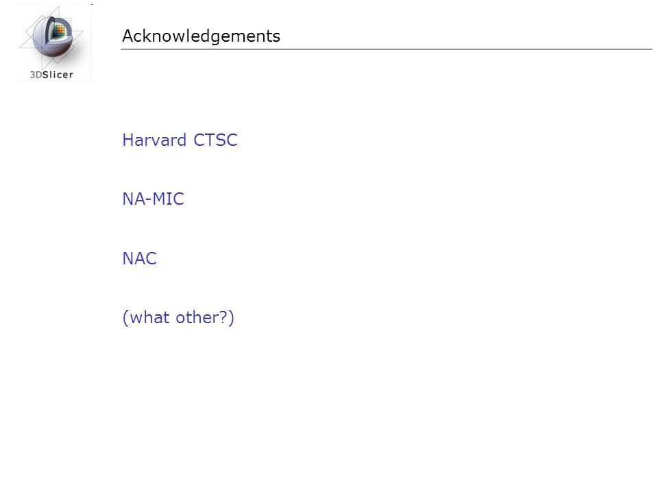 Acknowledgements Harvard CTSC NA-MIC NAC (what other?)