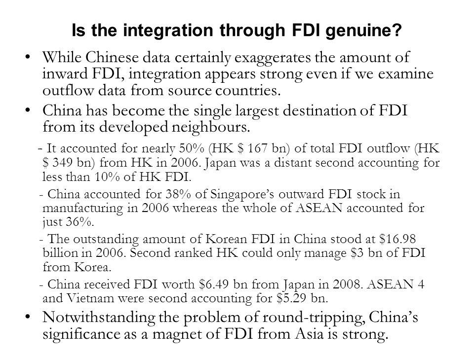 Is the integration through FDI genuine.