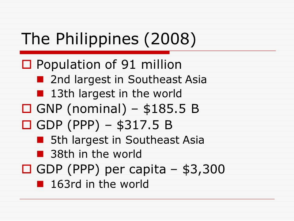 The Philippines (2008) Population of 91 million 2nd largest in Southeast Asia 13th largest in the world GNP (nominal) – $185.5 B GDP (PPP) – $317.5 B 5th largest in Southeast Asia 38th in the world GDP (PPP) per capita – $3,300 163rd in the world