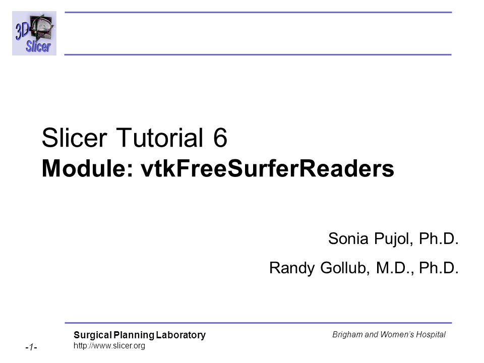 Surgical Planning Laboratory http://www.slicer.org -1- Brigham and Womens Hospital Slicer Tutorial 6 Module: vtkFreeSurferReaders Sonia Pujol, Ph.D. R