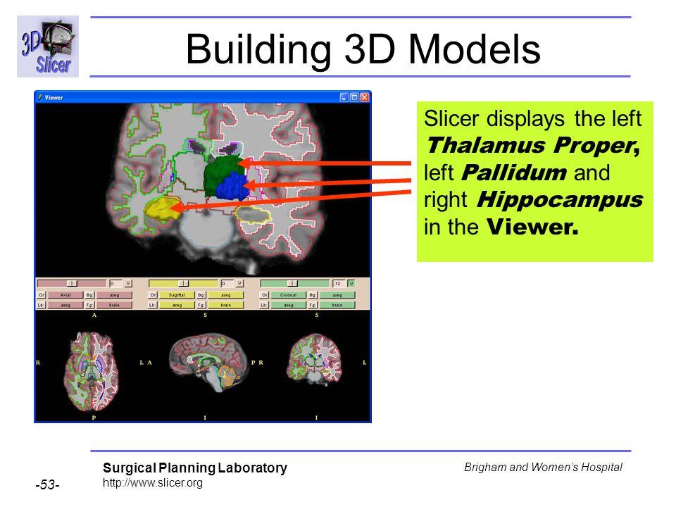 Surgical Planning Laboratory http://www.slicer.org -53- Brigham and Womens Hospital Building 3D Models Slicer displays the left Thalamus Proper, left