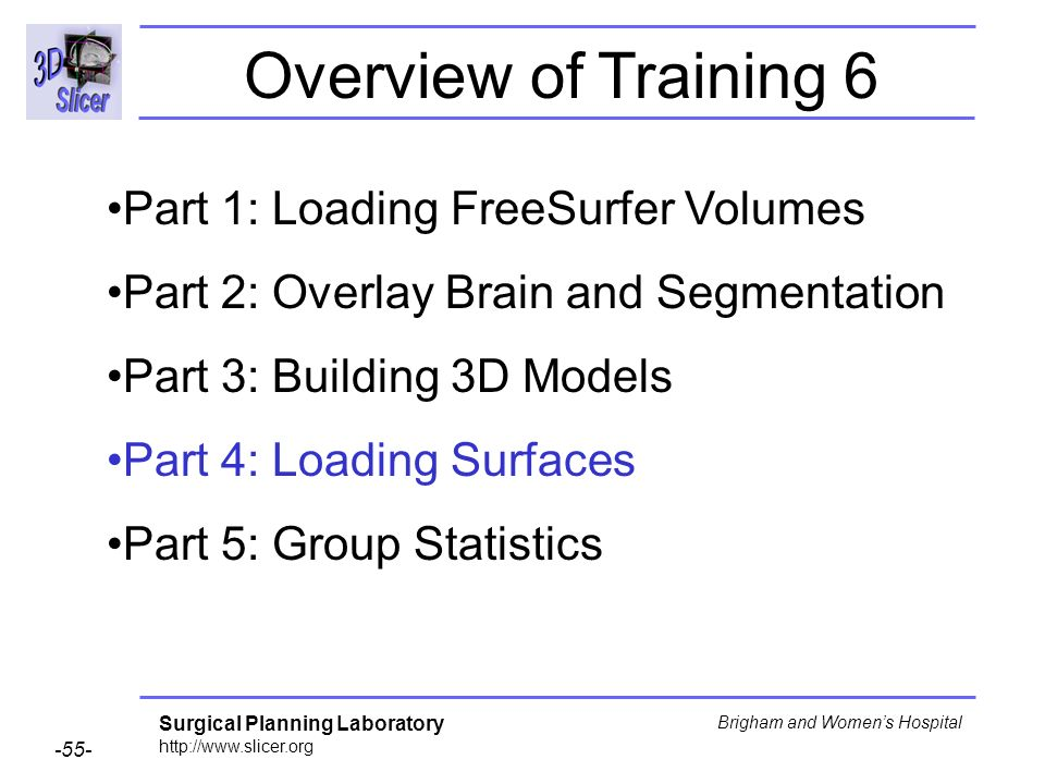 Surgical Planning Laboratory http://www.slicer.org -55- Brigham and Womens Hospital Part 1: Loading FreeSurfer Volumes Part 2: Overlay Brain and Segme