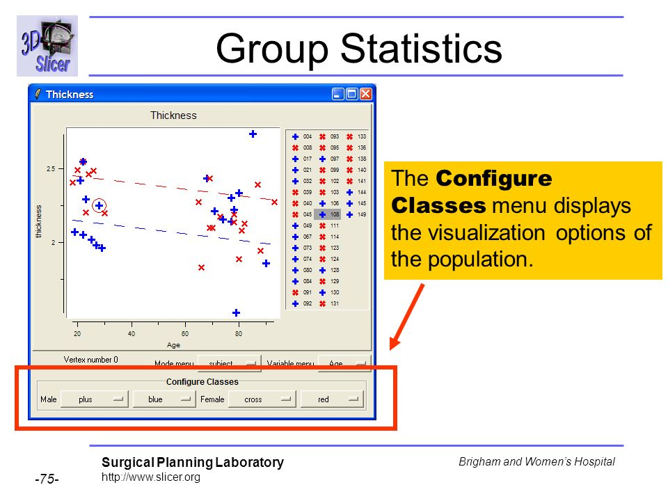 Surgical Planning Laboratory http://www.slicer.org -75- Brigham and Womens Hospital Group Statistics The Configure Classes menu displays the visualiza