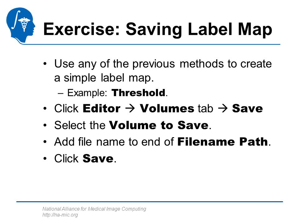 National Alliance for Medical Image Computing http://na-mic.org Exercise: Saving Label Map Use any of the previous methods to create a simple label map.