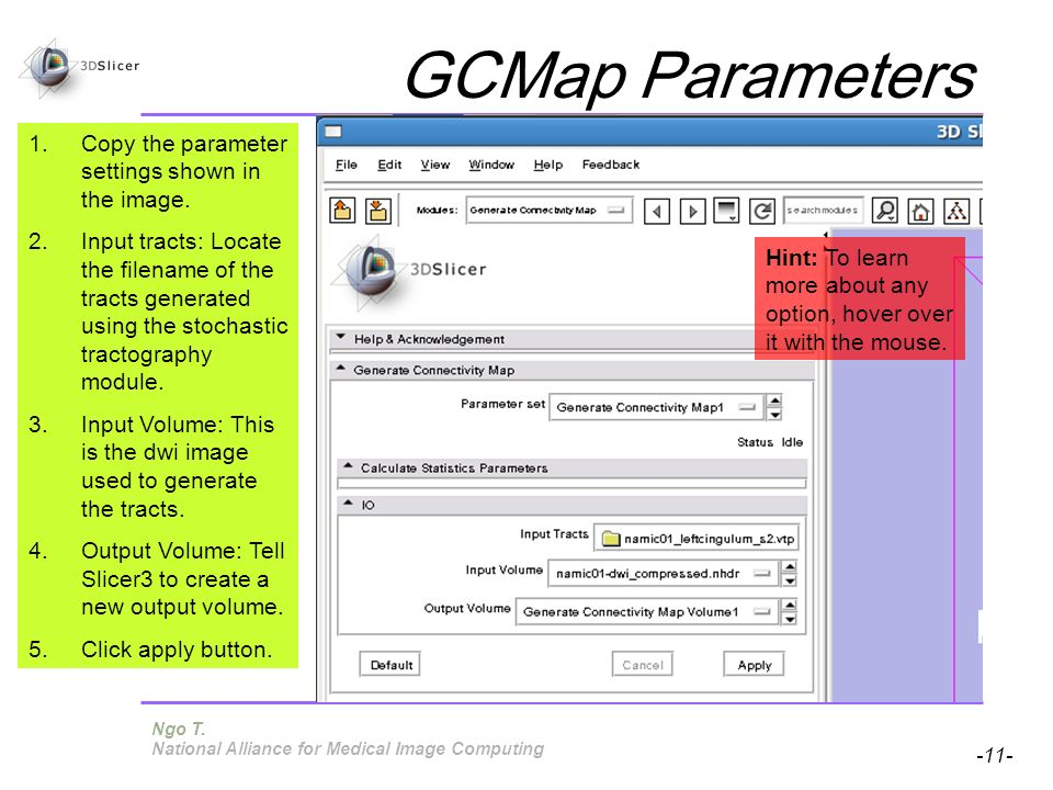 Pujol S, Gollub R -11- National Alliance for Medical Image Computing GCMap Parameters 1.Copy the parameter settings shown in the image. 2.Input tracts