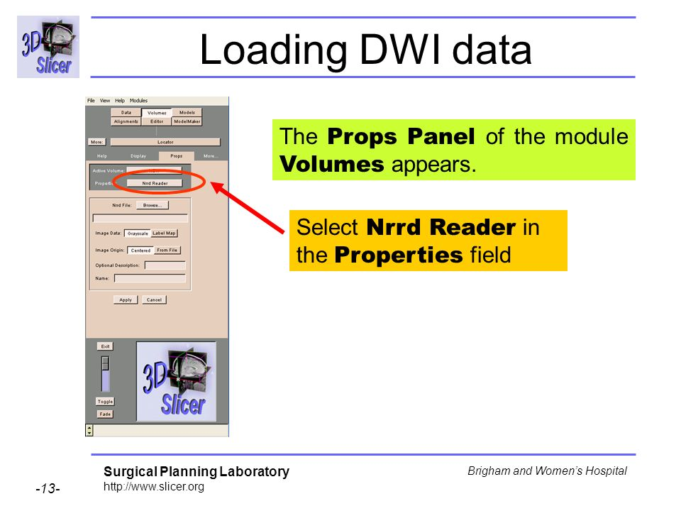 Surgical Planning Laboratory http://www.slicer.org -13- Brigham and Womens Hospital Loading DWI data Select Nrrd Reader in the Properties field The Props Panel of the module Volumes appears.
