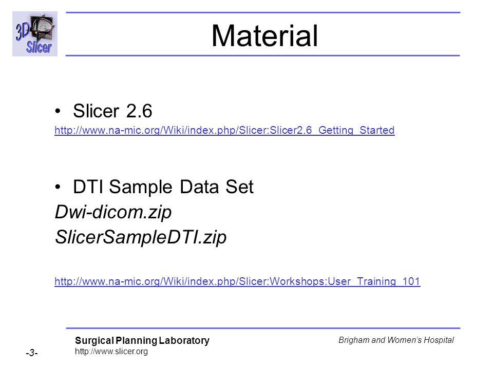 Surgical Planning Laboratory http://www.slicer.org -3- Brigham and Womens Hospital Material Slicer 2.6 http://www.na-mic.org/Wiki/index.php/Slicer:Slicer2.6_Getting_Started DTI Sample Data Set Dwi-dicom.zip SlicerSampleDTI.zip http://www.na-mic.org/Wiki/index.php/Slicer:Workshops:User_Training_101