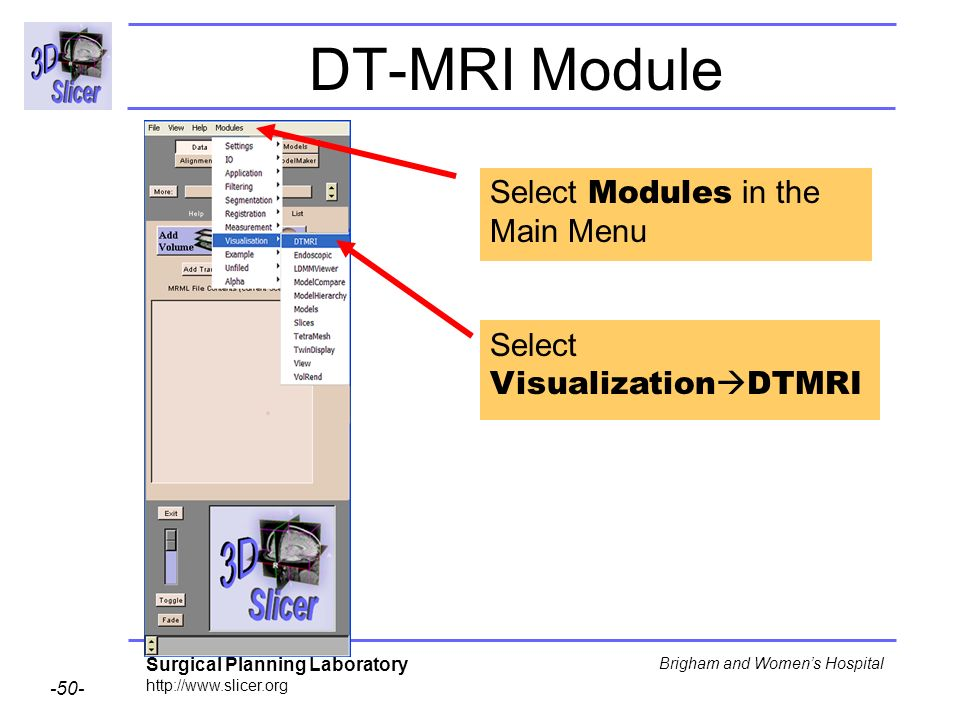 Surgical Planning Laboratory http://www.slicer.org -50- Brigham and Womens Hospital DT-MRI Module Select Modules in the Main Menu Select Visualization