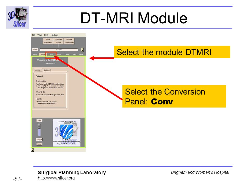 Surgical Planning Laboratory http://www.slicer.org -51- Brigham and Womens Hospital DT-MRI Module Select the Conversion Panel: Conv Select the module DTMRI