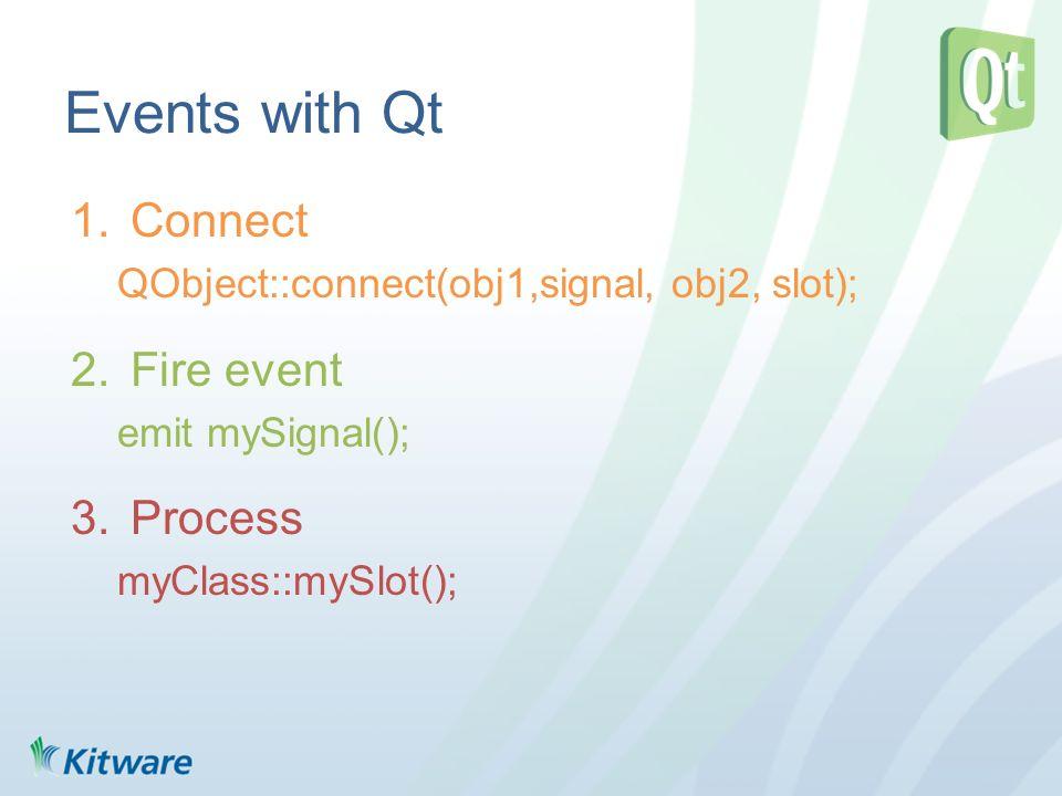 Events with Qt 1.Connect QObject::connect(obj1,signal, obj2, slot); 2.Fire event emit mySignal(); 3.Process myClass::mySlot();