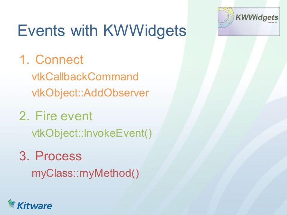 Events with KWWidgets 1.Connect vtkCallbackCommand vtkObject::AddObserver 2.Fire event vtkObject::InvokeEvent() 3.Process myClass::myMethod()