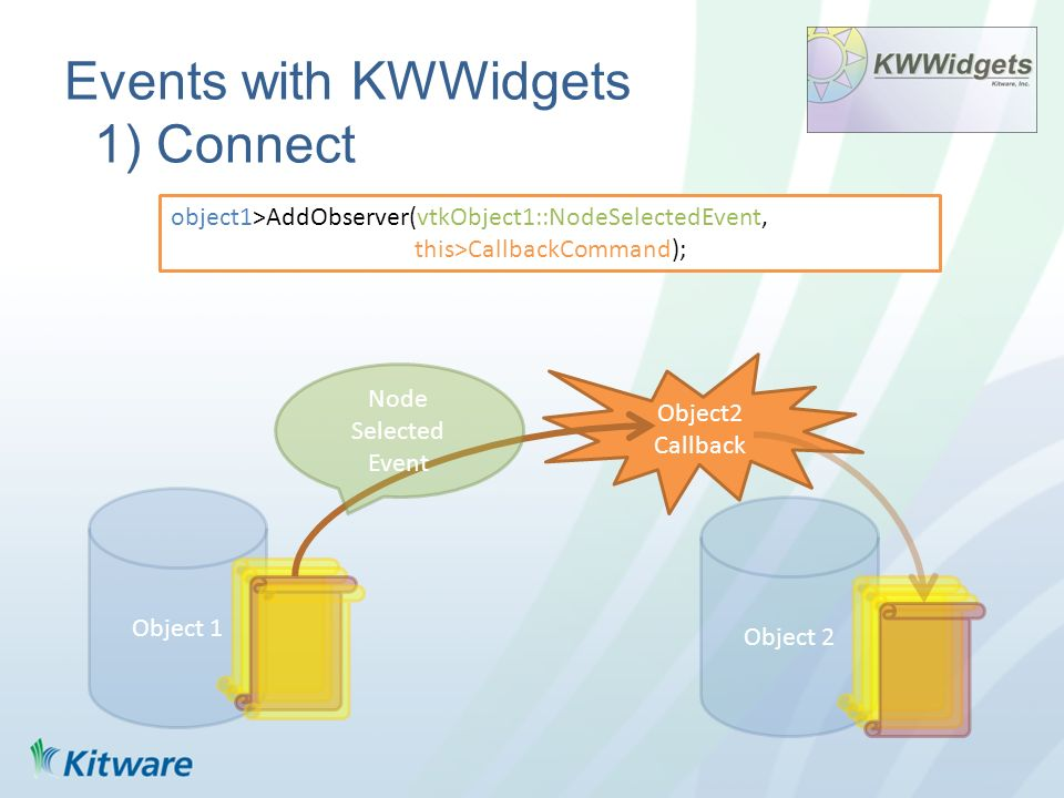 Events with KWWidgets 2) Signal Object 1 Object 2 Method2 void vtkObject1::Method2(){ … this->InvokeEvent(vtkObject1::NodeSelectedEvent, NULL); } Object2 Callback Node Selected Event