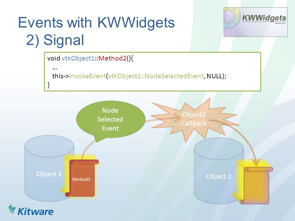 Events with KWWidgets 2) Signal Object 1 Object 2 Method2 void vtkObject1::Method2(){ … this->InvokeEvent(vtkObject1::NodeSelectedEvent, NULL); } Obje