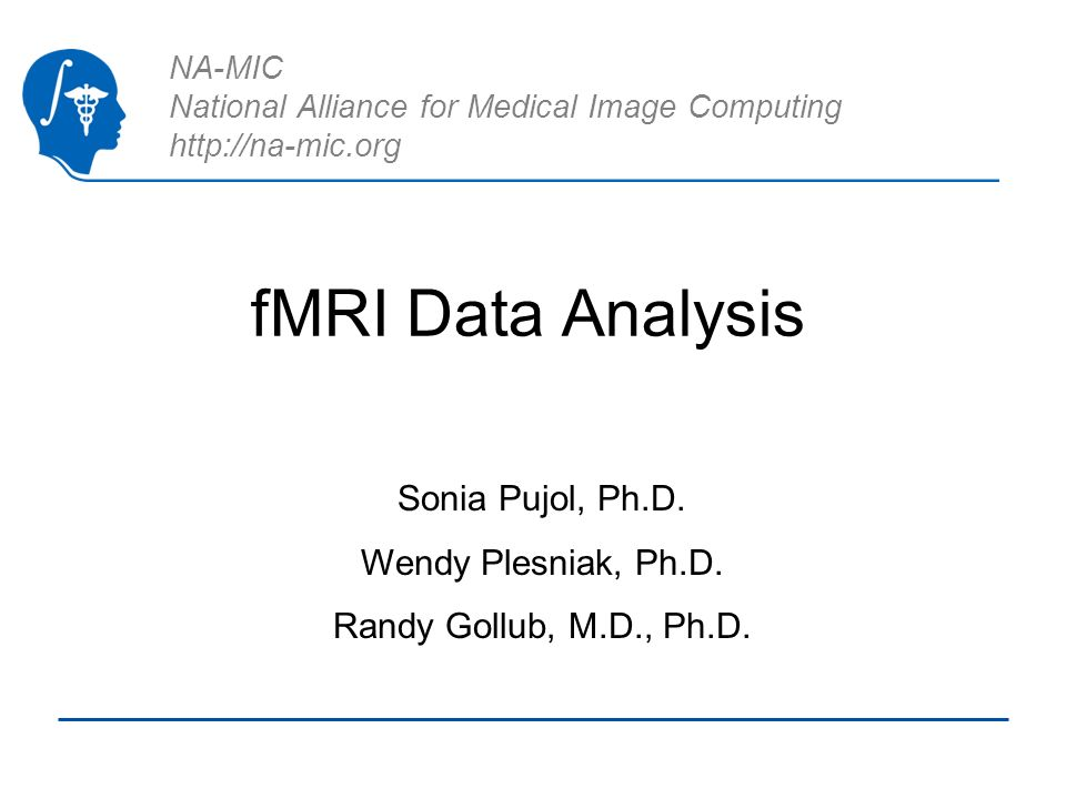 NA-MIC National Alliance for Medical Image Computing http://na-mic.org fMRI Data Analysis Sonia Pujol, Ph.D. Wendy Plesniak, Ph.D. Randy Gollub, M.D.,