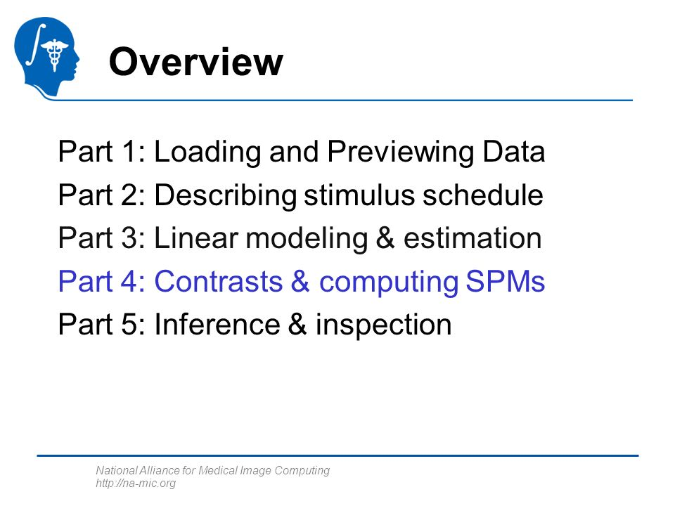 National Alliance for Medical Image Computing http://na-mic.org Overview Part 1: Loading and Previewing Data Part 2: Describing stimulus schedule Part