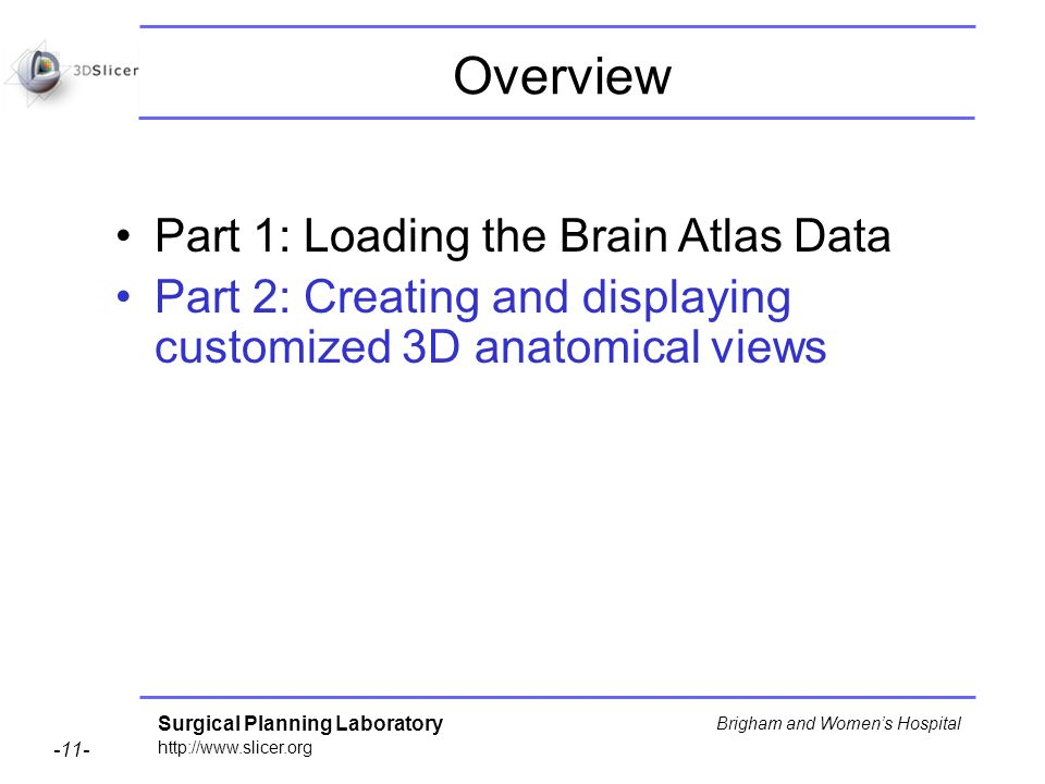 Surgical Planning Laboratory http://www.slicer.org -11- Brigham and Womens Hospital Overview Part 1: Loading the Brain Atlas Data Part 2: Creating and displaying customized 3D anatomical views