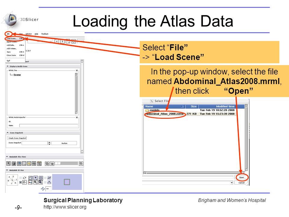 Surgical Planning Laboratory http://www.slicer.org -9- Brigham and Womens Hospital Loading the Atlas Data Select File -> Load Scene In the pop-up window, select the file named Abdominal_Atlas2008.mrml, then click Open