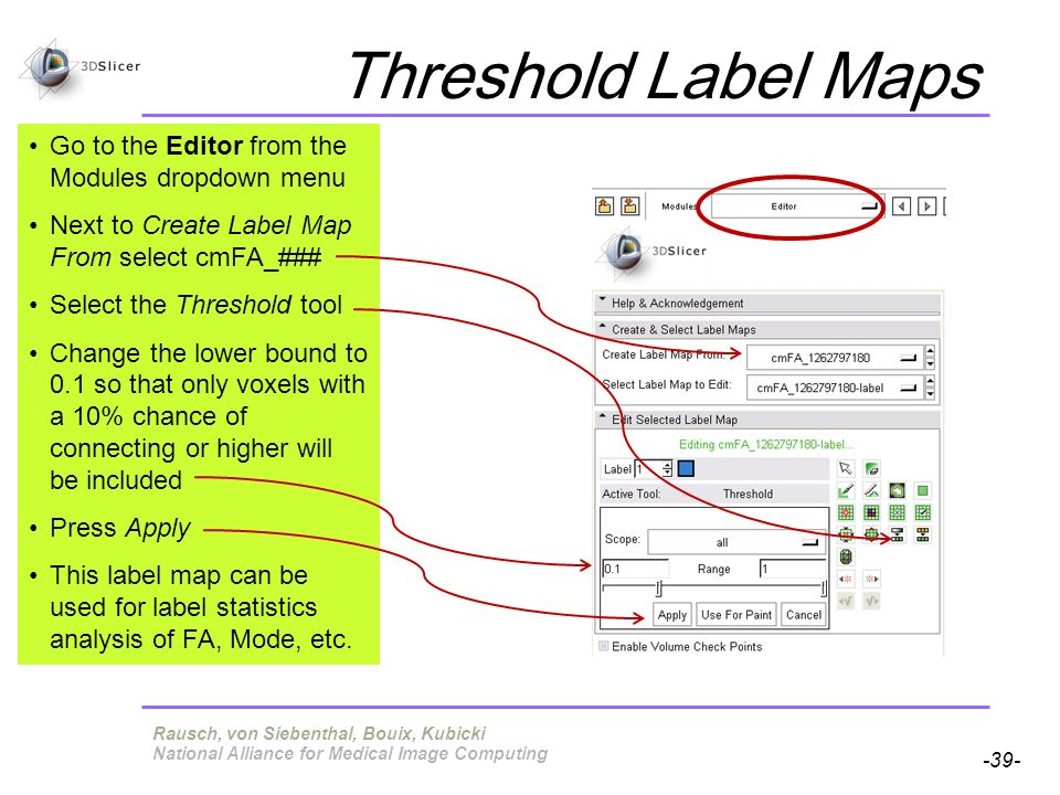 Pujol S, Gollub R -39- National Alliance for Medical Image Computing Threshold Label Maps Go to the Editor from the Modules dropdown menu Next to Crea