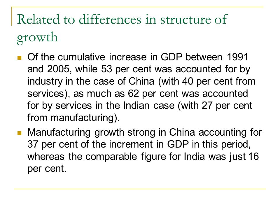 Related to differences in structure of growth Of the cumulative increase in GDP between 1991 and 2005, while 53 per cent was accounted for by industry in the case of China (with 40 per cent from services), as much as 62 per cent was accounted for by services in the Indian case (with 27 per cent from manufacturing).