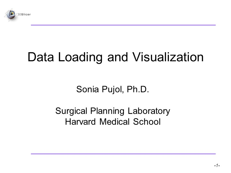 Pujol S, Gollub R -1- National Alliance for Medical Image Computing Data Loading and Visualization Sonia Pujol, Ph.D.